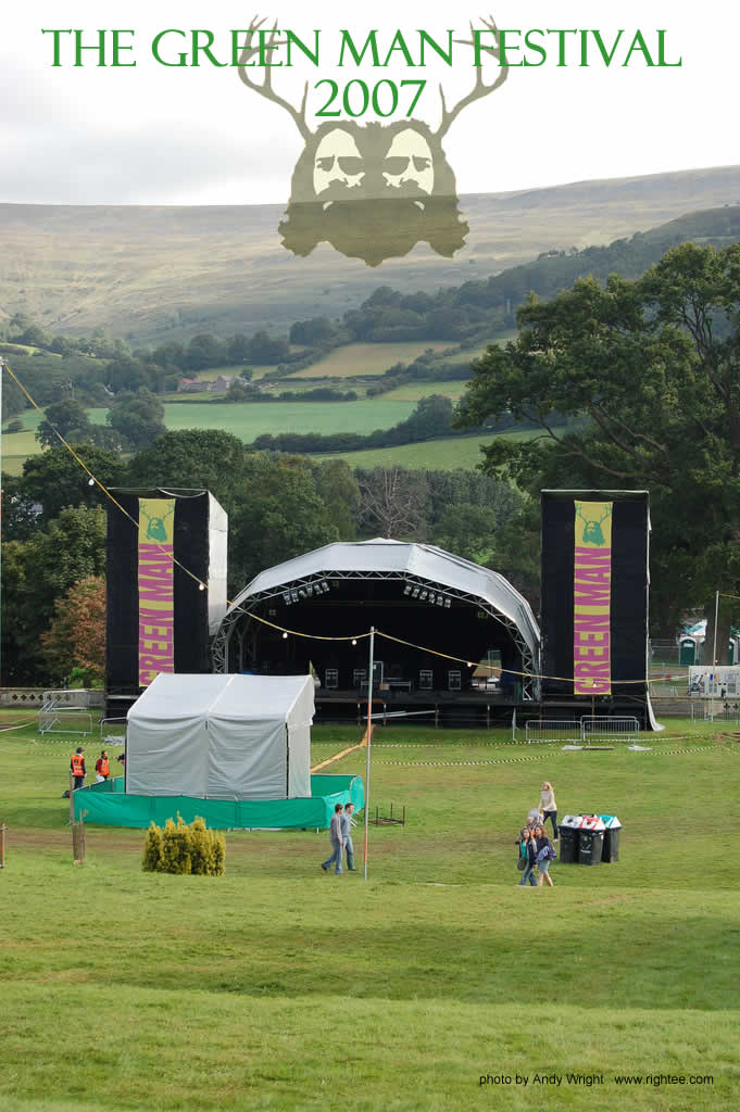 The main stage meadow of The Green Man Festival in preparation for the crowds to arrive.