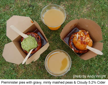 Pieminister pies and cider at the 2007 Green Man Festival.