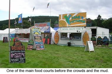 Main food court area before the crowds and the mud at the 2007 Green Man Festival, in Brecon, Wales.
