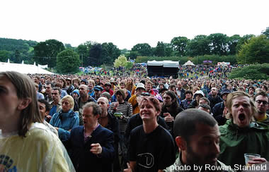View of crowd from main stage stage at the 2007 Green Man Festival, in Brecon, Wales.